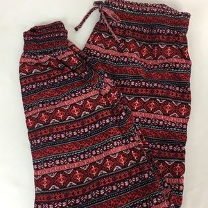 Divided H&M Boho Red And Black Cotton Blend Pants